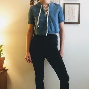Jean lace-up shirt